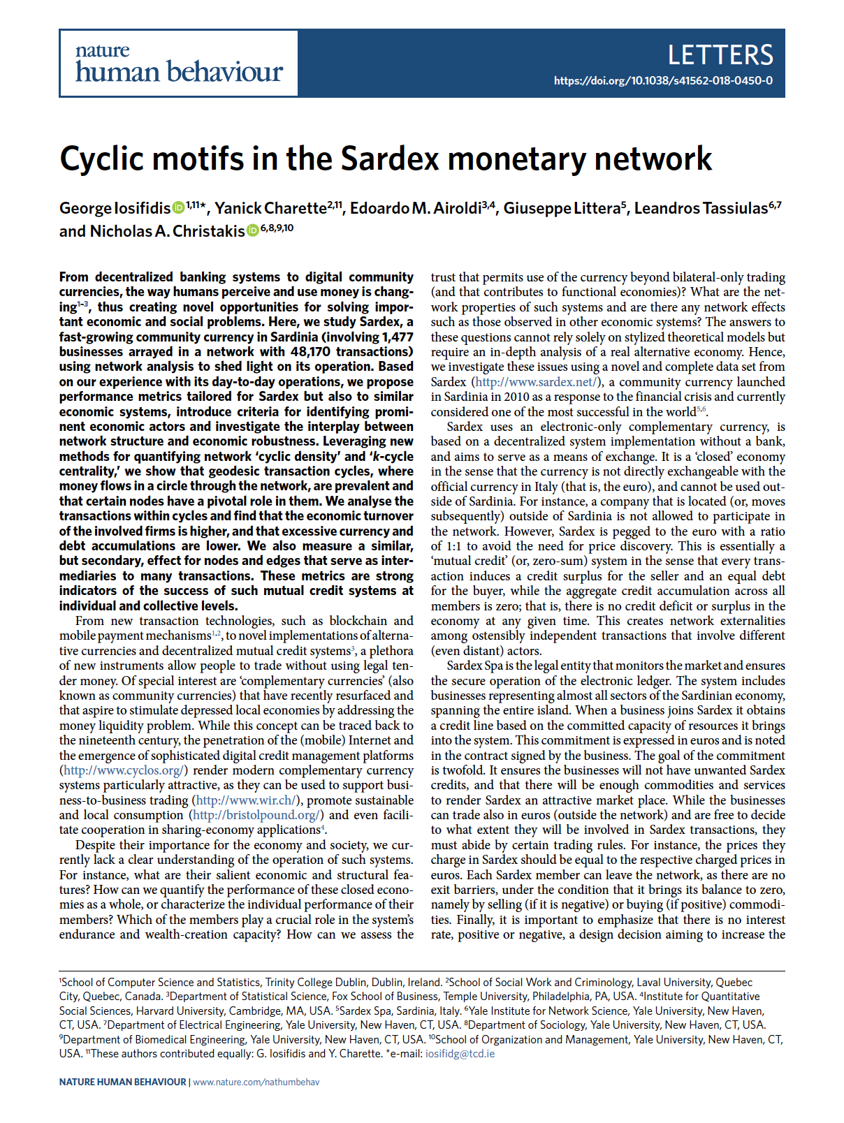 Cyclic Motifs In The Sardex Monetary Network