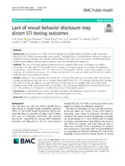 Lack Of Sexual Behavior Discloy Distort Sti Testing Outcomes 1