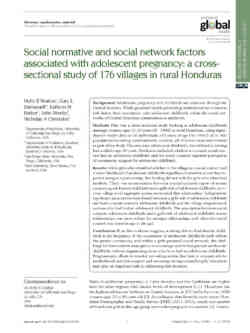 Social Normative And Social Network Factors Associated With Adolescent Pregnancy